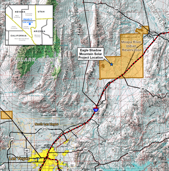 Moapa River Indian Reservation with Eagle Shadow Mountain Solar Project Location Highlighted